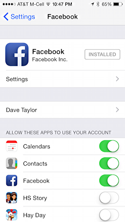 facebook main settings screen, iphone 5s, ipad mini
