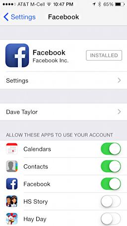 facebook main settings screen, iphone 5s, ipad mini