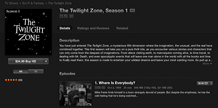 the twilight zone tv series in iTunes Store