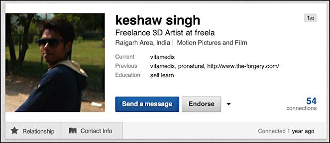 user profile in LinkedIn