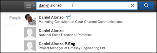 search for someone in linkedin