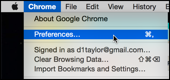 choose preferences from the Chrome menu mac