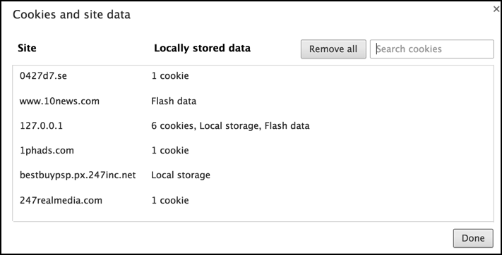 list of cookies and data saved by web sites in google chrome web browser mac