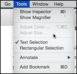 tools menu in preview app