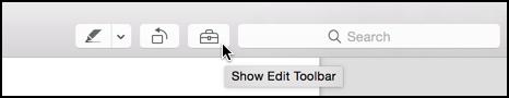 show edit toolbar option in pdf preview reader app