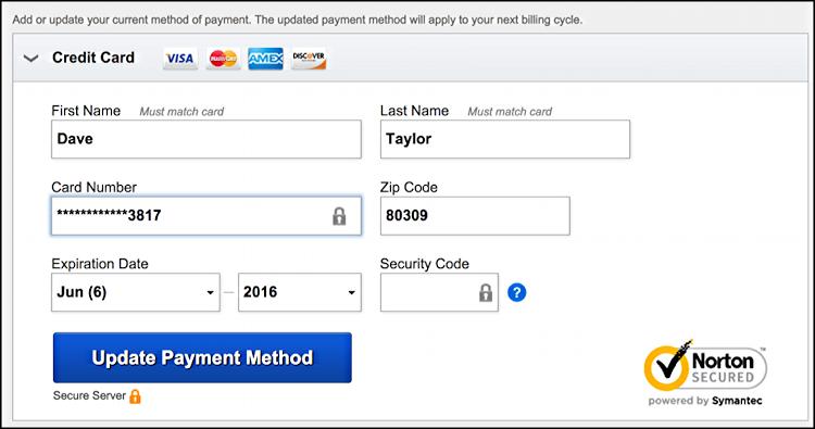 enter credit card payment visa mastercard change billing info netflix