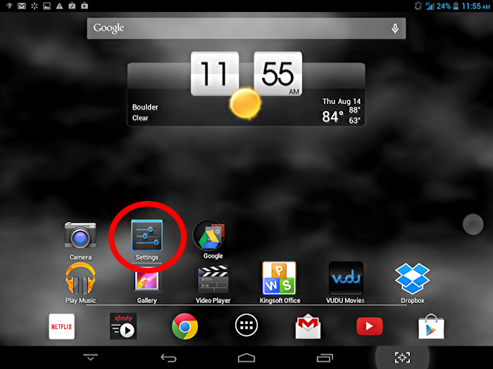 settings app on Android tablet