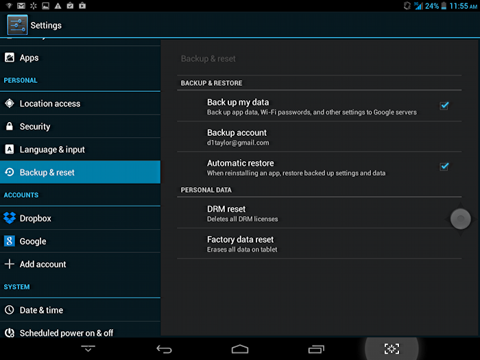 how to reset to factory settings android tablet