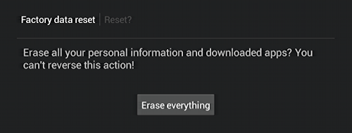 factory data reset format - are you sure?