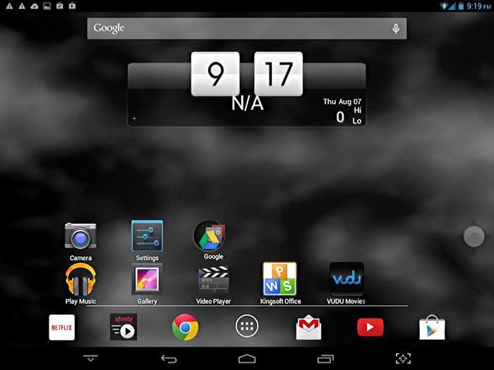 android tablet home screen - no location for weather app
