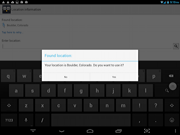 confirm your location for tablet weather app widget