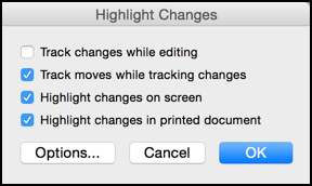 highlight changes window, ms word 14