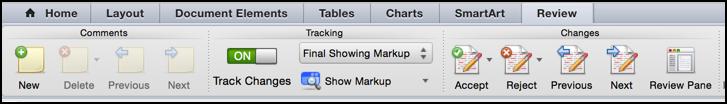 reviewing / revision tracking toolbar ribbon