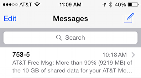 text message sms from at&t