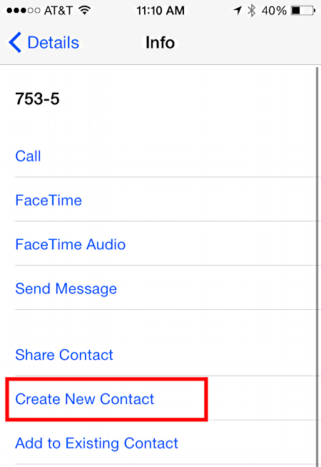 add phone number to contacts list ios 8 iphone