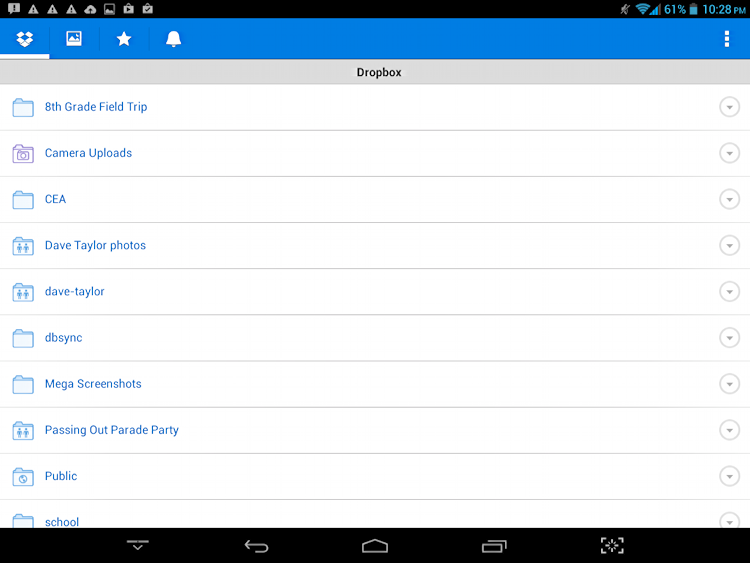 dropbox app on android tablet: main screen, folder view