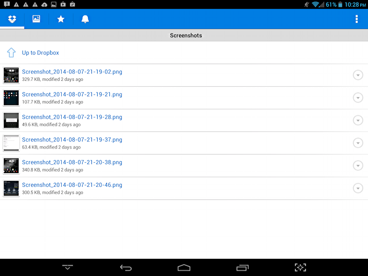'screenshots' folder in android droid dropbox