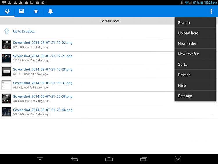 menu of choices and options and actions dropbox android