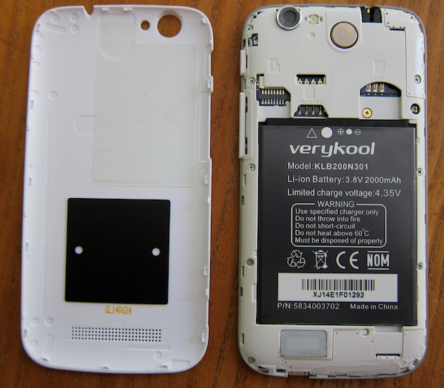 s505 without back cover, showing battery