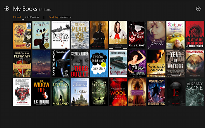 my books in the kindle app