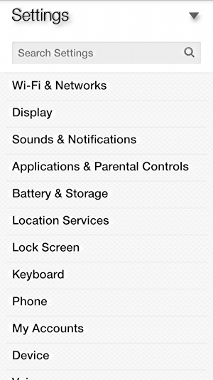 amazon fire phone settings