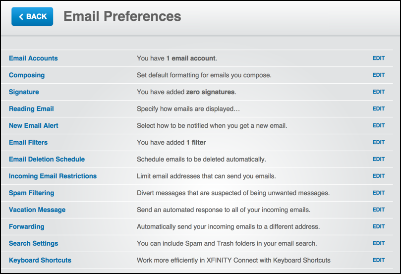 comcast webmail preferences and settings email