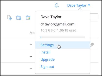 Account settings, dropbox