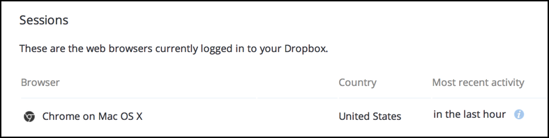 web browsers logged in to your dropbox account