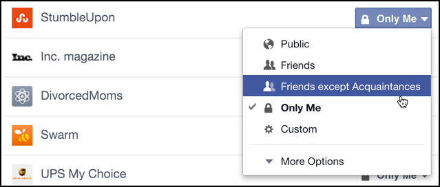 privacy options for facebook fb apps