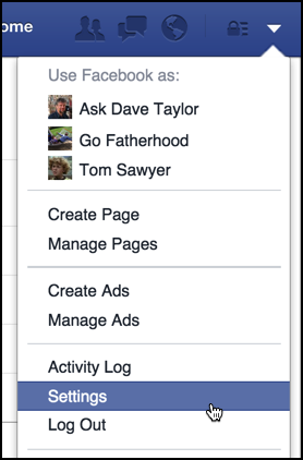 find 'settings' on the facebook acount menu