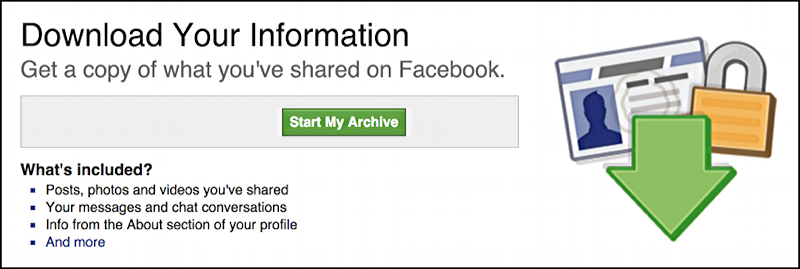 export your personal information from fb facebook