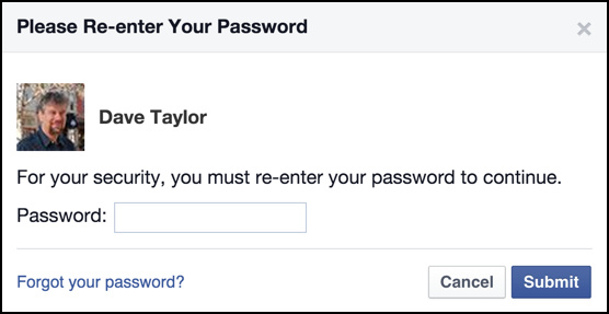 facebook prompts for your password again