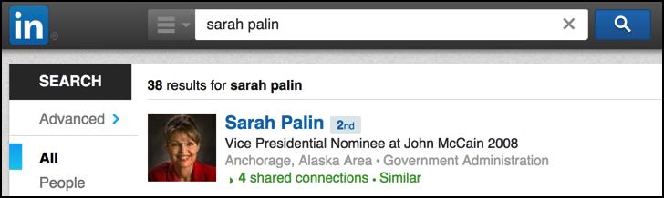search linkedin for sarah palin