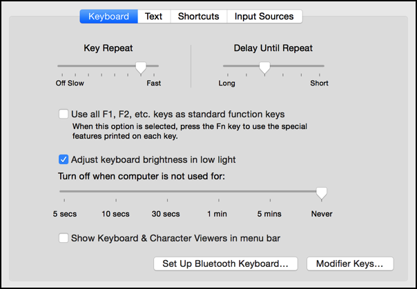 mac os x keyboard settings preferences system