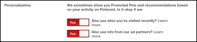 turn off pinterest personalization for adverts advertisers