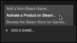 add a game / redeem a code steam