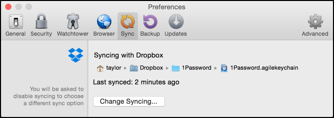 Step 2: Check 1Password sync settings