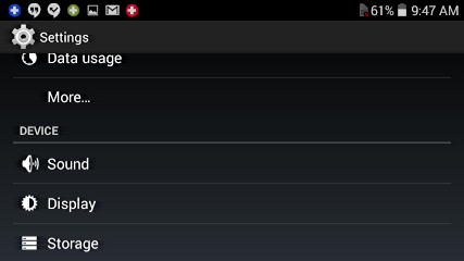 settings on android phone