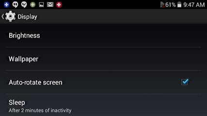Display setting options in Android