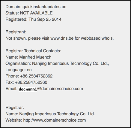 quickinstantupdates.be is owned by someone in China