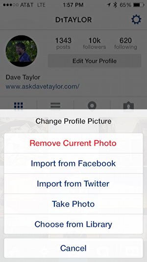 change profile settings instagram