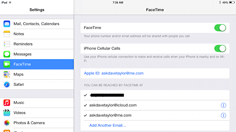 facetime settings preferences defaults ios8 ios 8