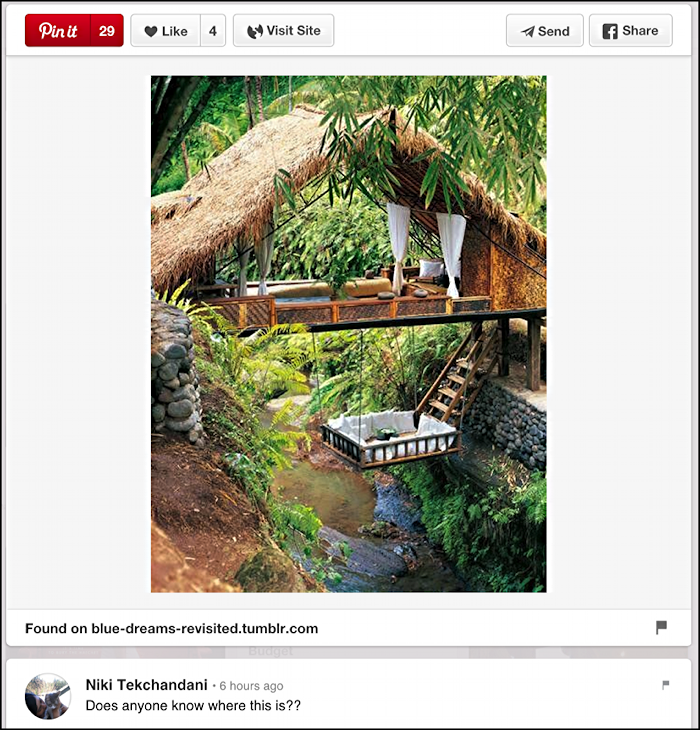 where is this amazing hotel room in the jungle as pinned posted on pinterest