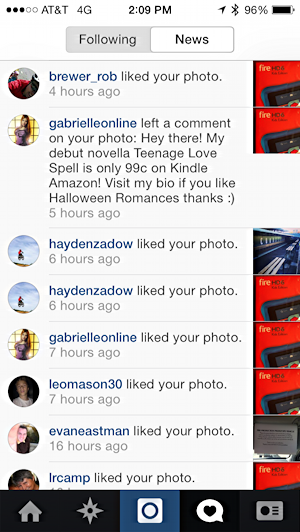 comments, likes and notifications on instagram