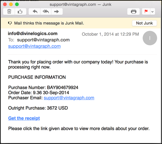 this email will infect you with a virus via dropbox - Email Receipt