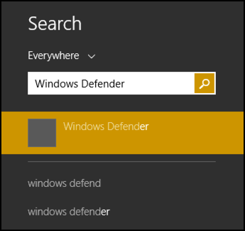 search for windows defender in win8