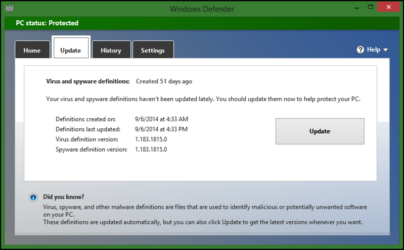 update your virus spyware malware definitions data info dictionary database windows defender