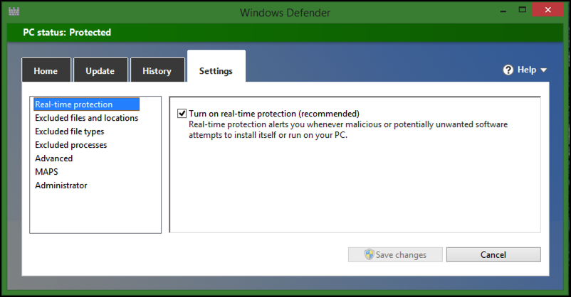 settings preferences customize windows defender win8.1