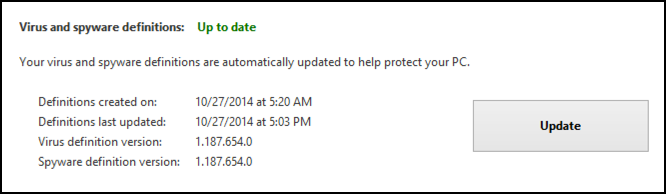 updates installed for win defender