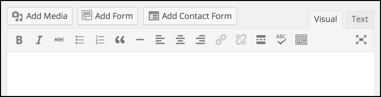 regular wordpress editor, control strip icons